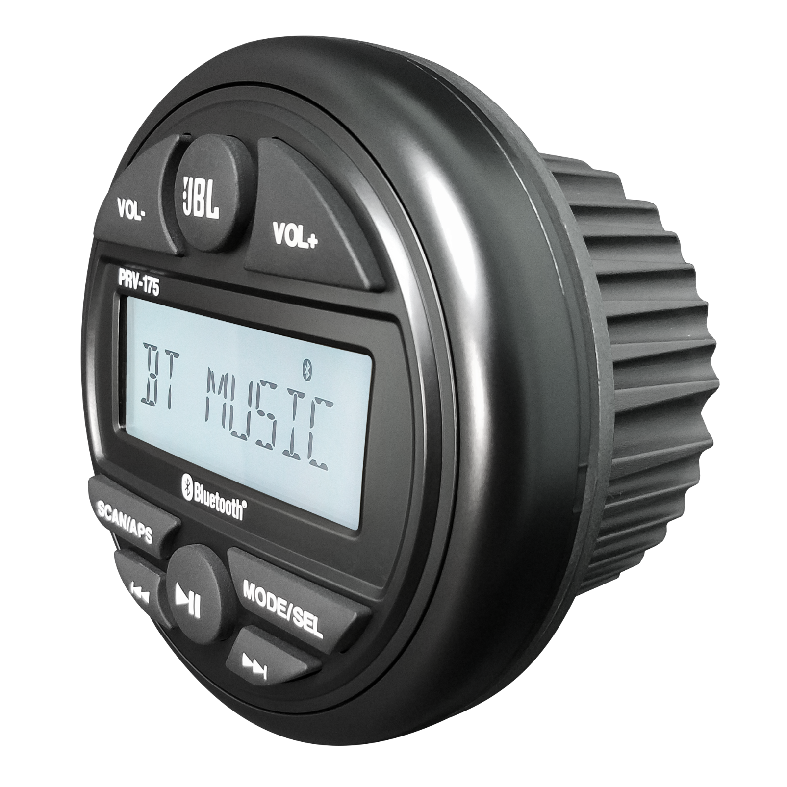 PRV175 - Black - Marine Digital Media Receiver has Built-In Bluetooth®, USB, Auxiliary Input, AM, FM, and Weather Band Audio Streaming with Round Gauge-style Mounting Design - Hero