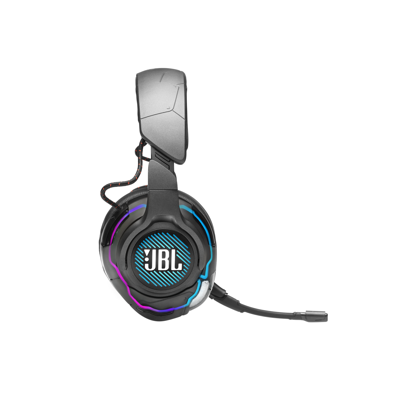 JBL Quantum ONE - Black - USB wired PC over-ear professional gaming headset with head-tracking enhanced JBL QuantumSPHERE 360 - Detailshot 5
