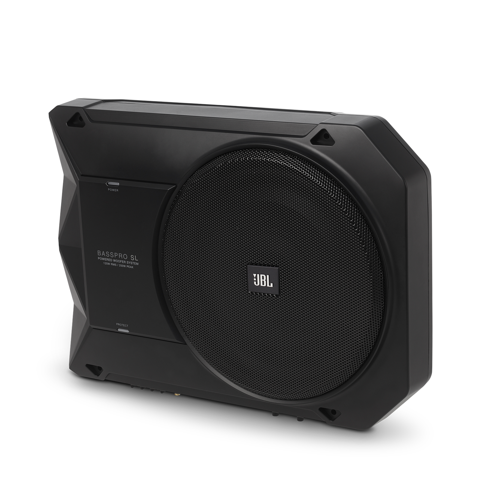 "BassPro SL - Black - Powered, 8"" (200mm) car audio under seat woofer system - Hero"